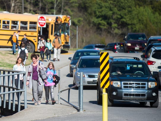 Afternoon dismissal at Holston Middle School on Tuesday,