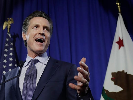 Democratic Lt. Gov. Gavin Newsom speaks at his gubernatorial campaign's primary night watch party in San Francisco in this file photo.