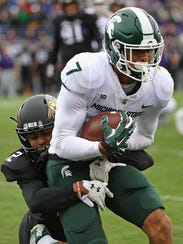 MSU's Cody White catches a 6-yard touchdown pass over