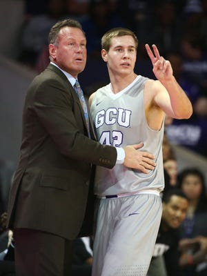 Grand Canyon University coach Dan Majerle and guard Gerard Martin against Chicago State at GCU Arena on Feb. 23, 2017 in Phoenix, Ariz.