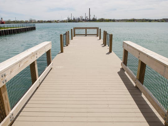A pier juts out into the St. Clair River Monday, May 9, at Chrysler Beach in Marysville.