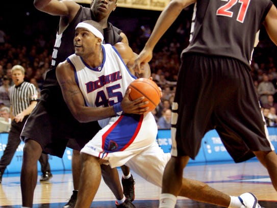 DePaul's Quemont Greer (45) heads to the basket past