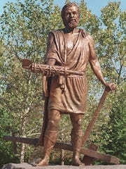 A statue of Cincinnatus at Bicentennial Commons shows the Roman hero handing back the fasces, a symbol of power, while his other hand rests on his plow.