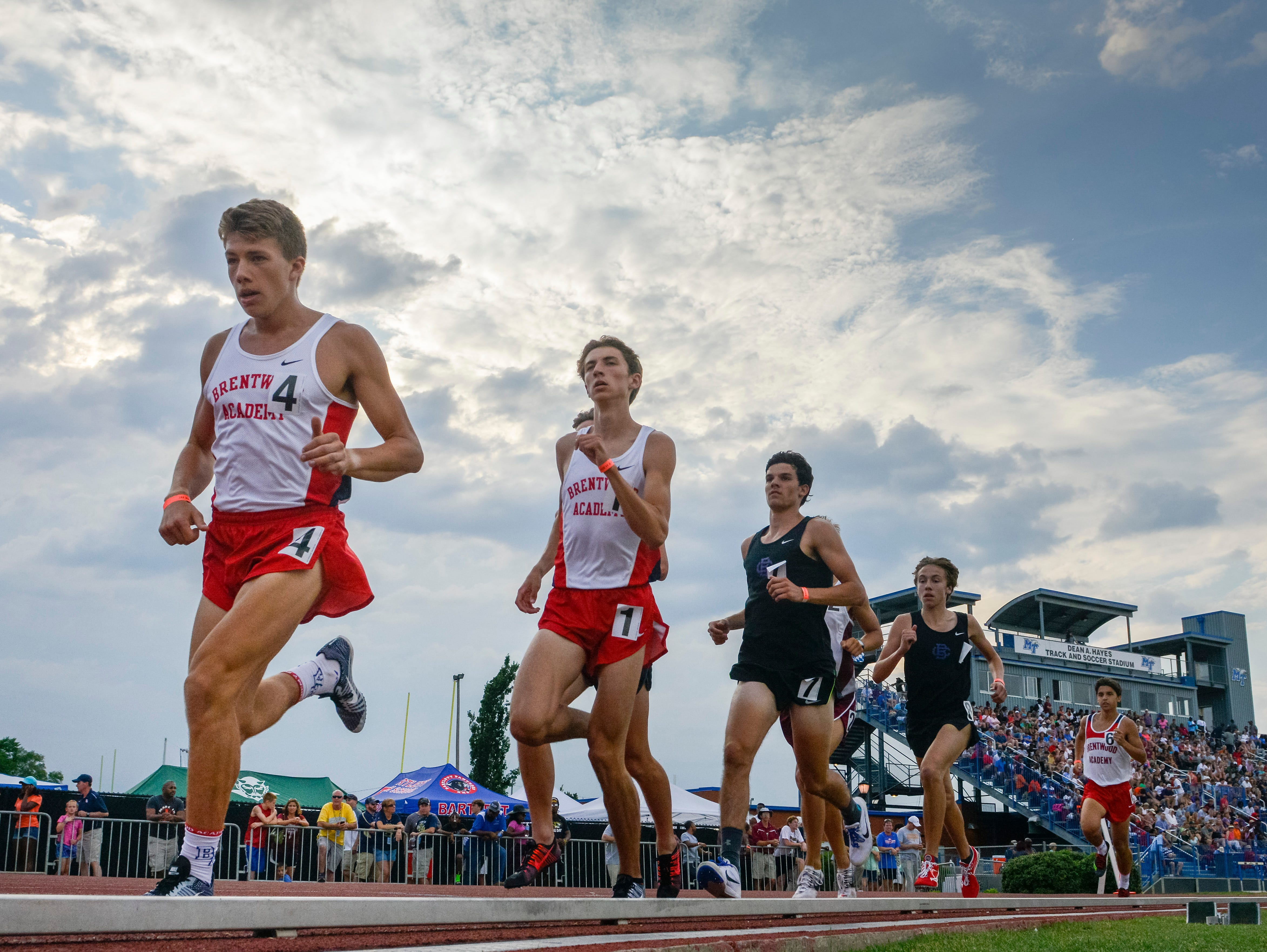Brentwood Academy's Michael Renner maintains a lead to win first place in the D-II 3200 Meter Run during the Spring Fling boys state track meet at MTSU's Dean Hayes Track and Field Stadium, Friday, May 27, 2016, in Murfreesboro, Tenn.