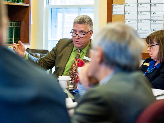 Rep. Tom Stevens, D-Waterbury, is pictured during a committee discussion in April 2015.