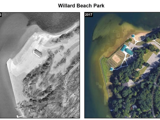 This comparison provided by the city of Battle Creek shows how soil erosion has affected Willard Beach on Goguac Lake.