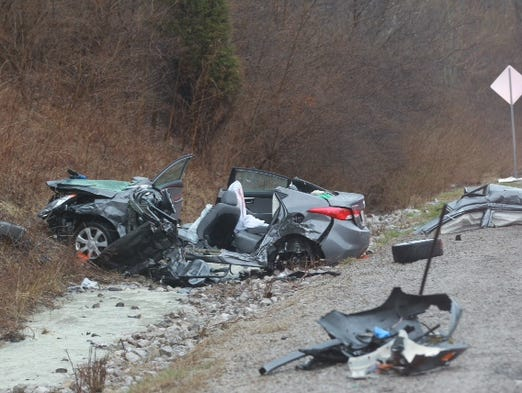 Wreckage of a Hyundai Elantra in which a person was killed on eastbound I-275 in Boone County Thursday morning.