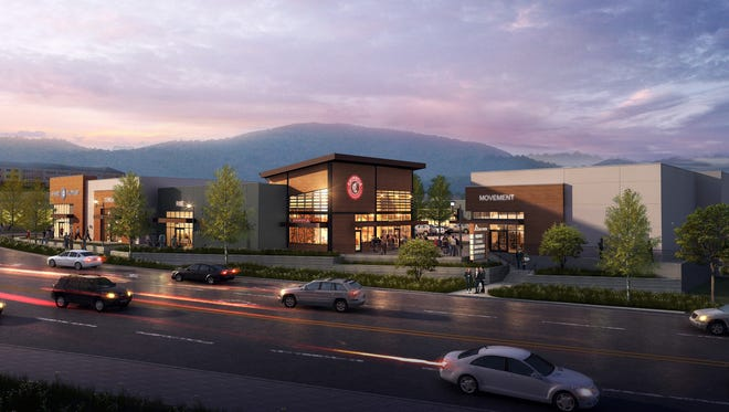 A rendering of The Peaks, a new retail center planned to open in 2018 across from the Asheville Mall.