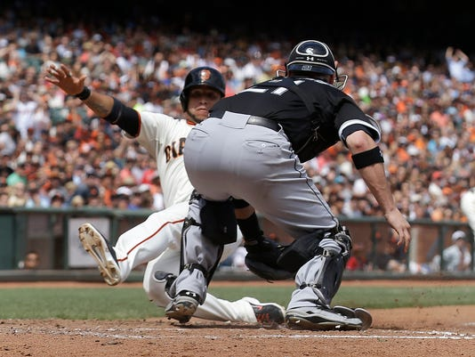 White sox lose 7 1 to giants after disputed call chicago white sox catcher tyler flowers right reaches to tag san francisco giants mightylinksfo