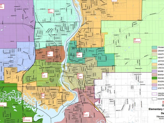 A zoomed in view of proposed elementary school boundaries presented to the Wausau School Board on Feb. 22, 2016. The board as requested some additional changes to this map.