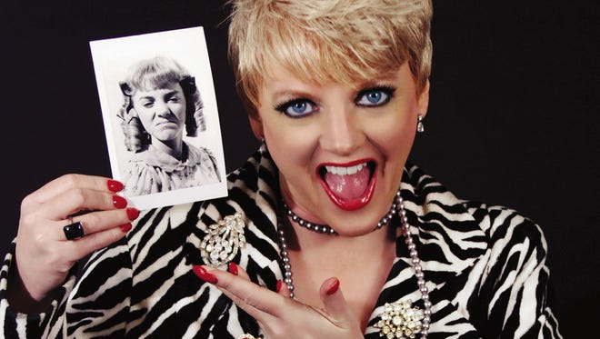 Alison Arngrim as she appears today, provided by her publicist, and holding a photo as she appeared as Nellie in 'Little House on the Prairie.'