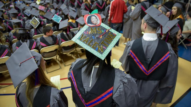 Brookdale Community College held its commencement ceremonies on campus at the Collins Arena in Middletown on Friday, May 13. Many students made creative decorations on their mortar boards.