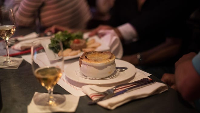 Onion soup gratinee is on the menu at Bistro P, a bistro within a bistro located at Pistache in downtown West Palm. The concept opened Feb. 1.