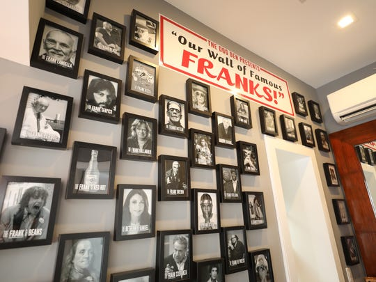 """""""Our Wall of Famous Franks"""" at The Dog Den, a new hot"""