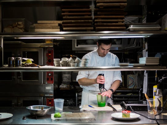 Pastry chef Franck Oysel creates a dessert April 16,