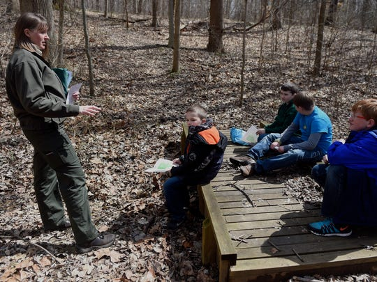 Park Naturalist Lisa Hoffman instructs local Webelos