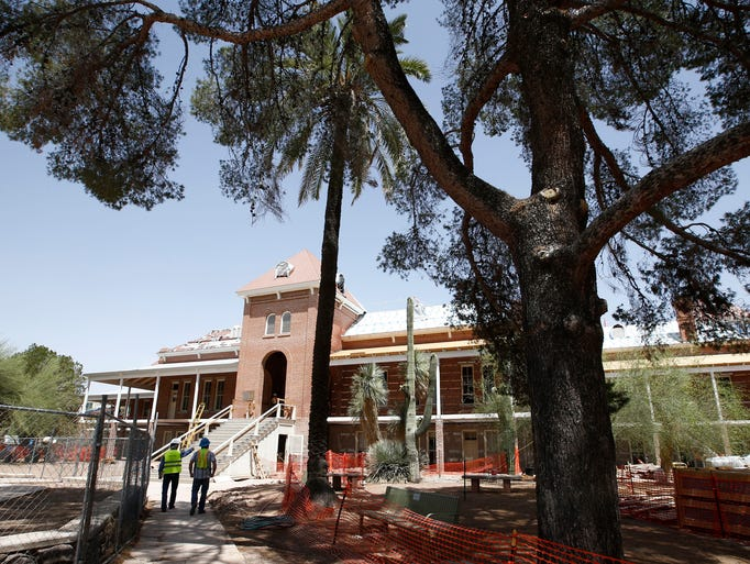 Old Main at the University of Arizona in Tucson is undergoing a $13.5 million renovation with construction 85 percent complete as of May 2014.