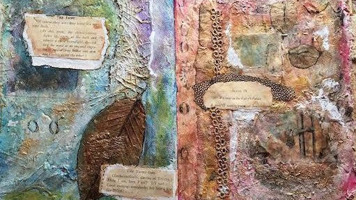 """""""Window, Light Daydreams,"""" handmade paper and mixed media manuscript by Angie Follensbee-Hall, whose work is on display at the New Hamsphre Art Association gallery in Portsmouth during the month of September."""