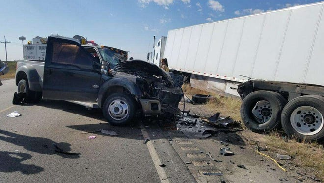 One person was killed in a crash on U,S, Highway 285 near Malaga Tuesday Oct. 31, 2017. The crash involved a pickup and semi.