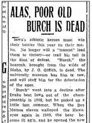 A copy of a Iowa City Citizen story from Feb. 4, 1910