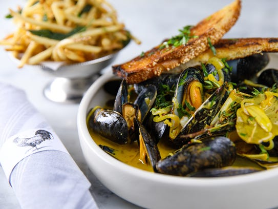 Moules Frites, steamed mussels and brasserie fries,