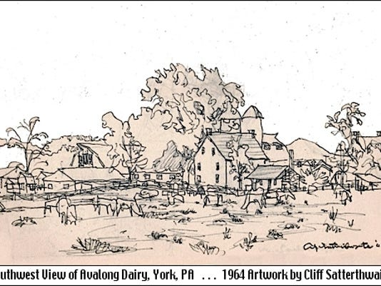 Southwest View of Avalong Dairy in Springettsbury Township, York County, PA (1964 Artwork by Cliff Satterthwaite)