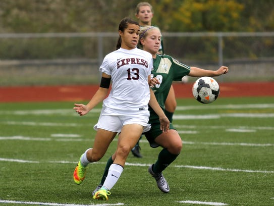 Kendra Oldroyd of Elmira fights for control of the