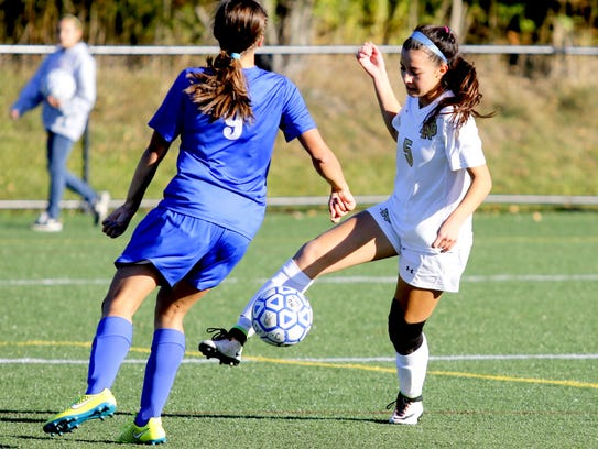 Notre Dame's Laurel Vargas controls the ball in front