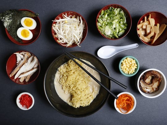 The tonkotsu ramen and some of the add-ins at Roc-N-Ramen in New Rochelle.