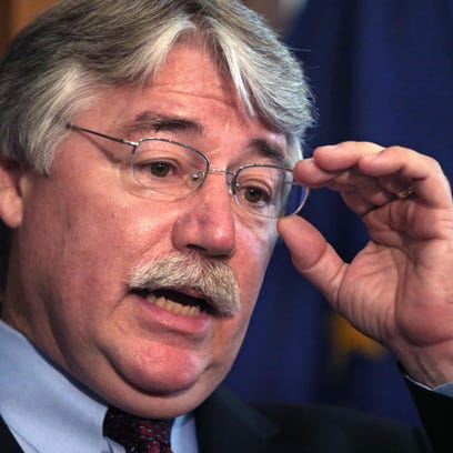 Indiana Attorney General Greg Zoeller speaks during a news conference in his Statehouse office on Aug. 19, 2014.