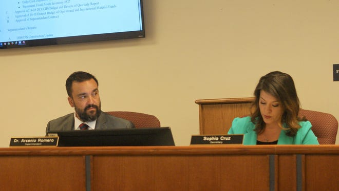 From left, Superintendent Arsenio Romero and Board of Education Secretary Sophia Cruz at the May 17 meeting.