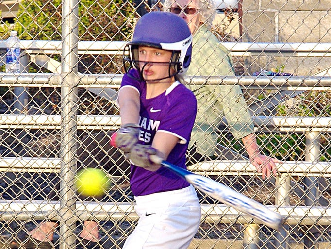 Kensli Douthit takes her swing during the William James JV softball game with Harpeth Tuesday.