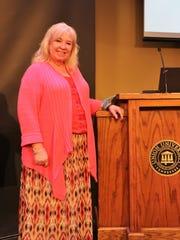 Trainer, Melanie Bunn, prepared to begin a presentation