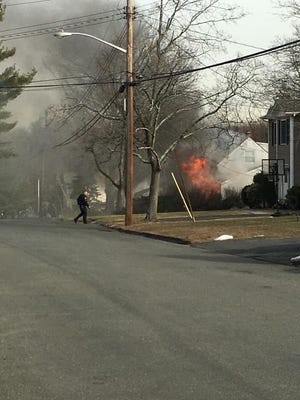 The fire at 66 Lombardi Road began around 2:15 p.m., according to a released statement from Orangetown Police.