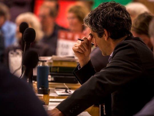Mayor Miro Weinberger listens to public comment in support of Keep Burlington Telecom Local during the Burlington City Council meeting Monday night, Oct. 30, 2017.