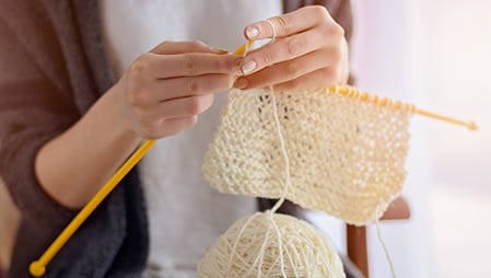 "Consider a ""learn to knit"" kit to get started."
