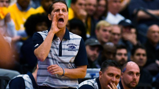 Nevada head coach Eric Musselman directs his team during the first half against Loyola Chicago on Tuesday.