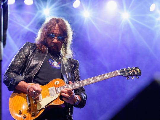 Ace Frehley performing on Sept. 2, 2017, at CHS Field Stadium in St. Paul, Minn.