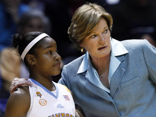 FILE – Tennessee coach Pat Summitt, right, talks with Briana Bass, Jan. 28, 2010, in Knoxville, Tenn.