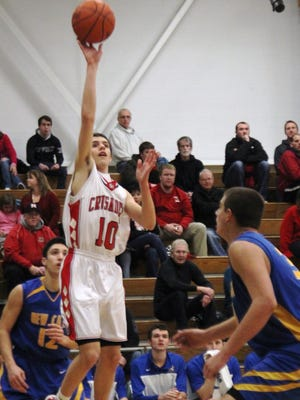 St. Henry's Adam Goetz went 12-for-12 from the free throw line to lead the Crusaders over Bishop Brossart Tuesday night.
