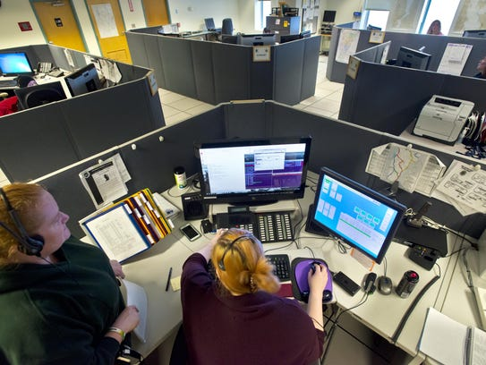 The 911 call and dispatch center at the Vermont State