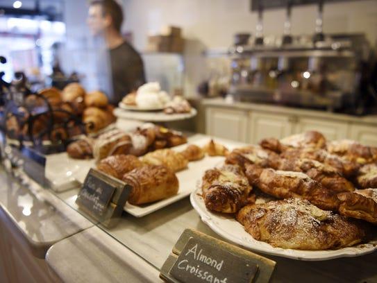 (right) Almond Croissant at Patisserie Florentine.