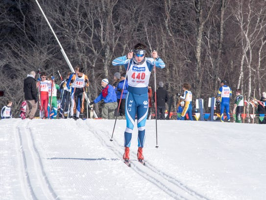 MMU's Kai Richter races during Monday's classical portion of the Nordic skiing high school state championships in Ripton.