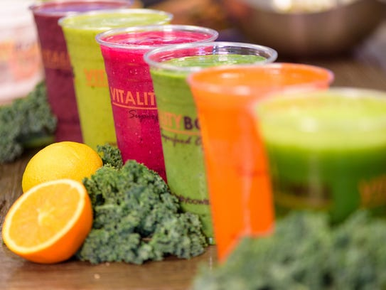 A selection of smoothies sold by Vitality Bowls.