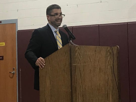 Rochelle Park principal Brian Cannici addresses public at Board of Education meeting on Thurs., Oct. 19, 2017. The principal announced his formal resignation from his post on Tues., May 29, 2018.
