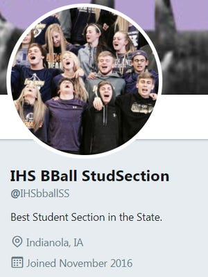 The Indianola High School student section organizes using a Twitter account. They announce what they'll wear during the games on the account.