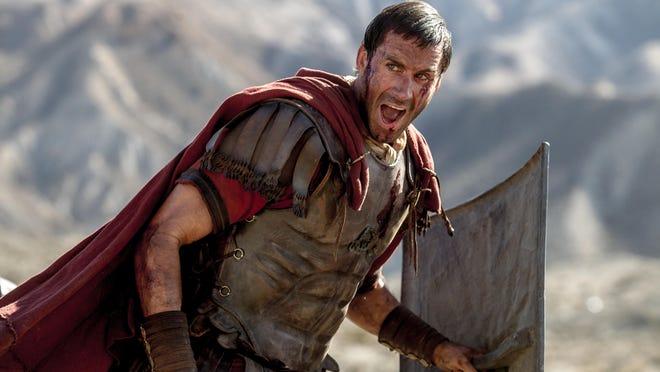 "Clavius (Joseph Fiennes) leads his Roman soldiers during the zealot battle in ""Risen."""