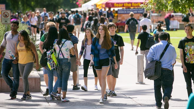 Students at the Arizona State University campus in Tempe.