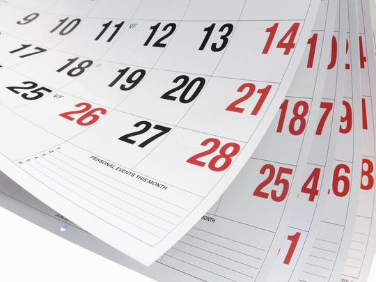 Calendar listings are published free on a space-available basis. Submit entries to events@gosanangelo.com. If an item must be published on a specific day, an advertisement is required. The advertising department can be reached at 325-659-8257.