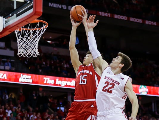 Nebraska's Isaiah Roby (15) shoots against Wisconsin's Ethan Happ (22) during the first half of an NCAA college basketball game Monday, Jan. 29, 2018, in Madison, Wis. (AP Photo/Andy Manis)